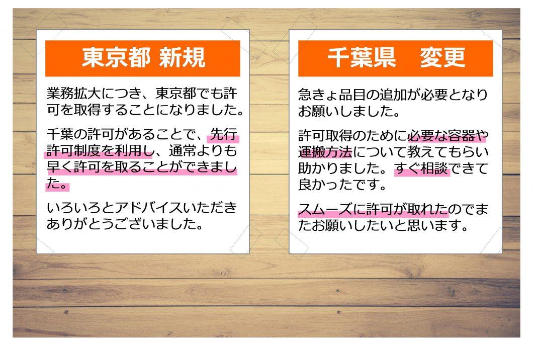 お客様の声 東京都 新規 業務拡大につき、東京都でも許可を取得することになりました。 千葉の許可があることで、先行許可制度を利用し、通常よりも早く許可を取ることができました。 いろいろとアドバイスいただきありがとうございました。 千葉県 変更 急きょ品目の追加が必要となりお願いしました。 許可取得のために必要な容器や運搬方法について教えてもらい助かりました。すぐ相談できて良かったです。 スムーズに許可が取れたのでまたお願いしたいと思います。